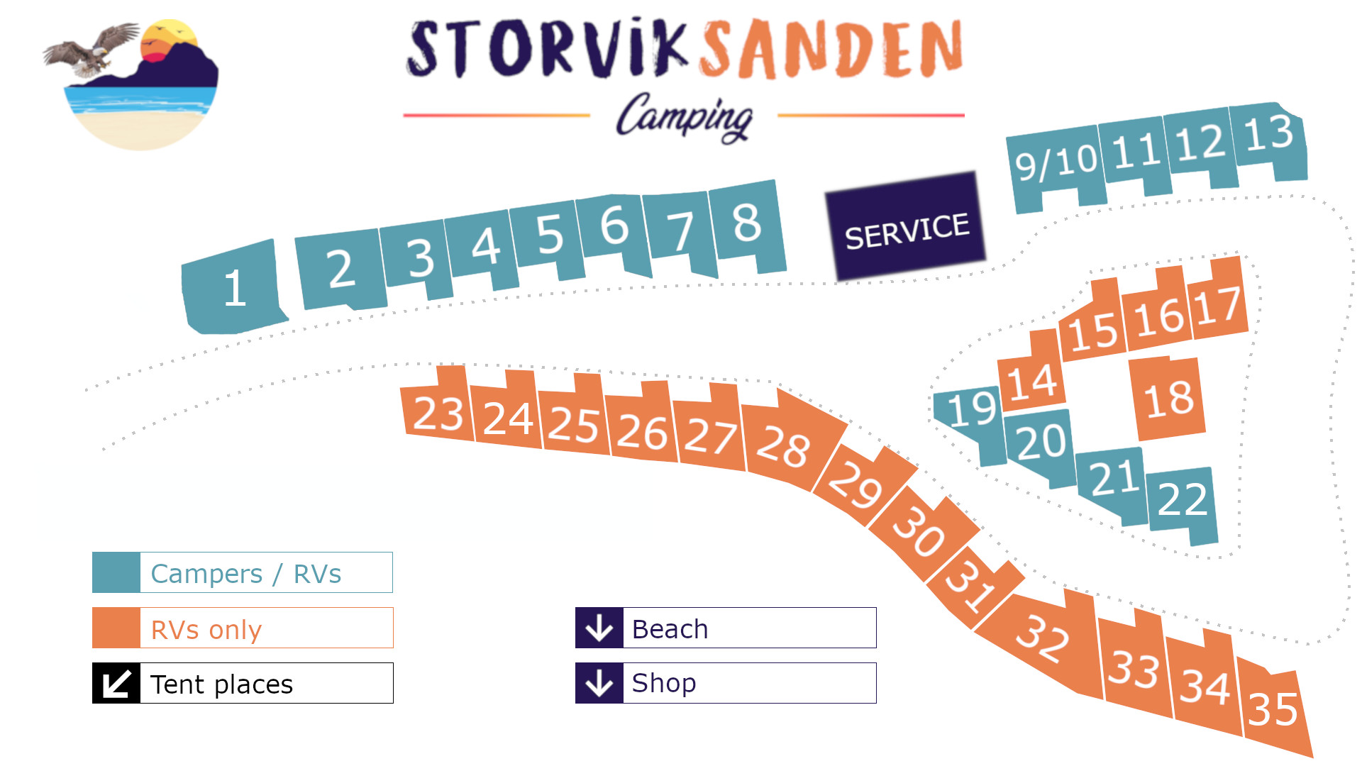 Map over Storviksanden Camping